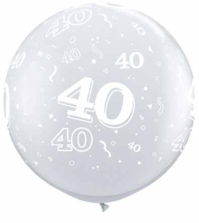 3FT Diamond Clear  Age 40 Latex Balloons x 2